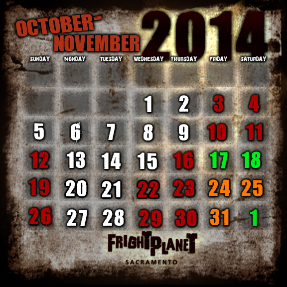 2014 Fright Planet Sacramento Calendar